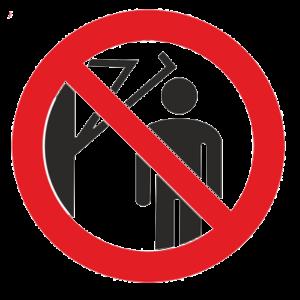 Знак – Запрещается подходить к элементам оборудования с маховыми движениями большой амплитуды Р-32